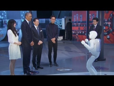 Embedded thumbnail for President Obama Kicking It With Robot Named ASIMO